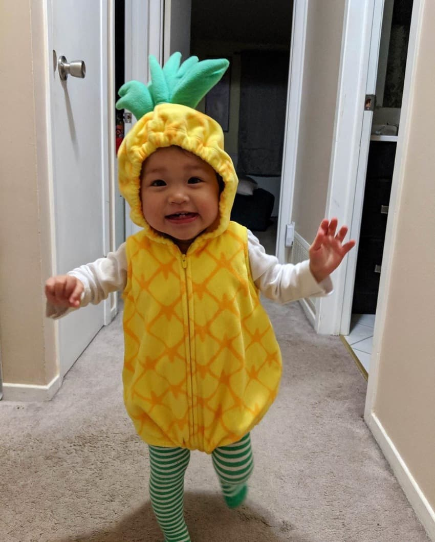 Lang's daughter dressed up as a pineapple